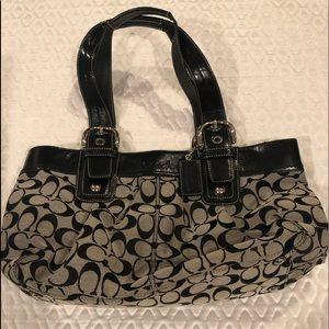 Coach grey and black logo purse